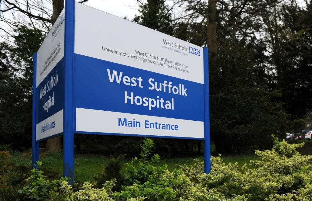 West Suffolk Hospital sign